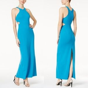 Calvin Klein Blue/Teal Cutout Sides Evening Dress